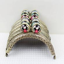10pcs/lot Semicircle 8.5CM Time Gem Candy Ball Antique Bronze Thicken Metal Purse Frame Kiss Clasp FK03 Free shipping(China)