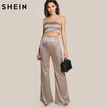SHEIN Champagne Strapless Satin Solid Bandeau Sexy Top and Matching Pants Set Elegant Women Two Piece Outfits(China)