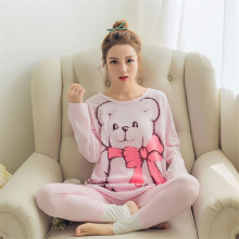 2017 New Women's Bear printing Long sleeved Long trousers Pajamas Sets Round Neck casual home clothes Breathable sleepwear Suit