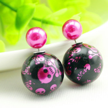 Amazing Design Printing Skull Stud Earrings Brincos Fine Jewelry Double Sided Beads Pearl Earrings for Women