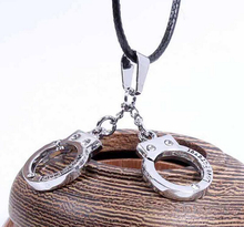 Hot Sale Personalized Handcuffs Pendant Leather Chain Necklace For Couples 2 Piece/Set RuYiXLQ017