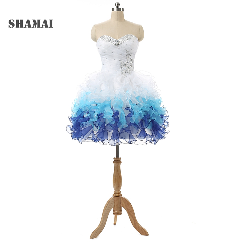 SHAMAI SHAMAI 2019 New Short Homecoming Dresses Sweetheart Beaded Ruffles Two Tone Cocktail Party Dress Short Formal Prom Gowns