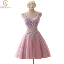 SSYFashion Rose Pink Fairy Short Evening Dresses Fairy V Neck Baeding Crystal Embroidery Backless Ball Gown Organza Formal Dress(China)