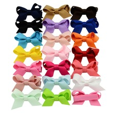 20 Pcs/lot Small Safety Bow Tie Hairclip Sweet Solid Whole Wrapped Hair Clips Kids Hairpins Hair Accessories 647