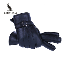Winter Warm Gloves Men New Designer Motor Heavy Type Real Genuine Leather Wool Fur Gloves Sheepskin Very Warm Windproof Mittens(China)