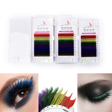 Colorful Makeup Tools 12Rows/Set 6 Colors Natural False Eyelash Extension Mixed Rainbow 0.1mm(China)