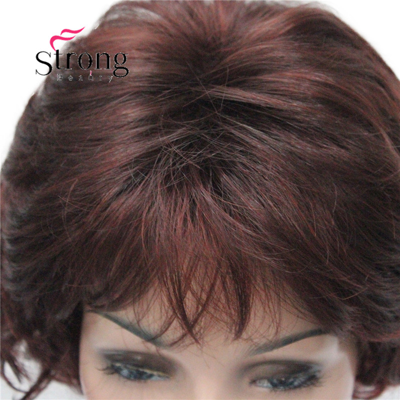 E-7125 #33H350 New Wavy Curly Auburn Mix Red Short Synthetic Hair Full Women's daily Party Wig (5)