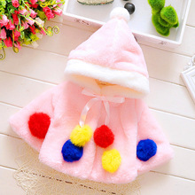 Trend  the new colorful ball hooded shawl Korean version  the winter girls coat coat short children imitation fur plush