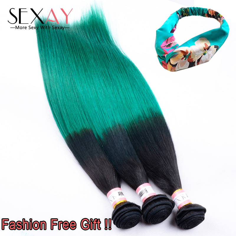 Straight Ombre Green Human Hair Extensions 8A Remy Raw Indian Virgin Hair Weave Bundles 1B Turquoise Two Tone Straight Hair Weft<br><br>Aliexpress