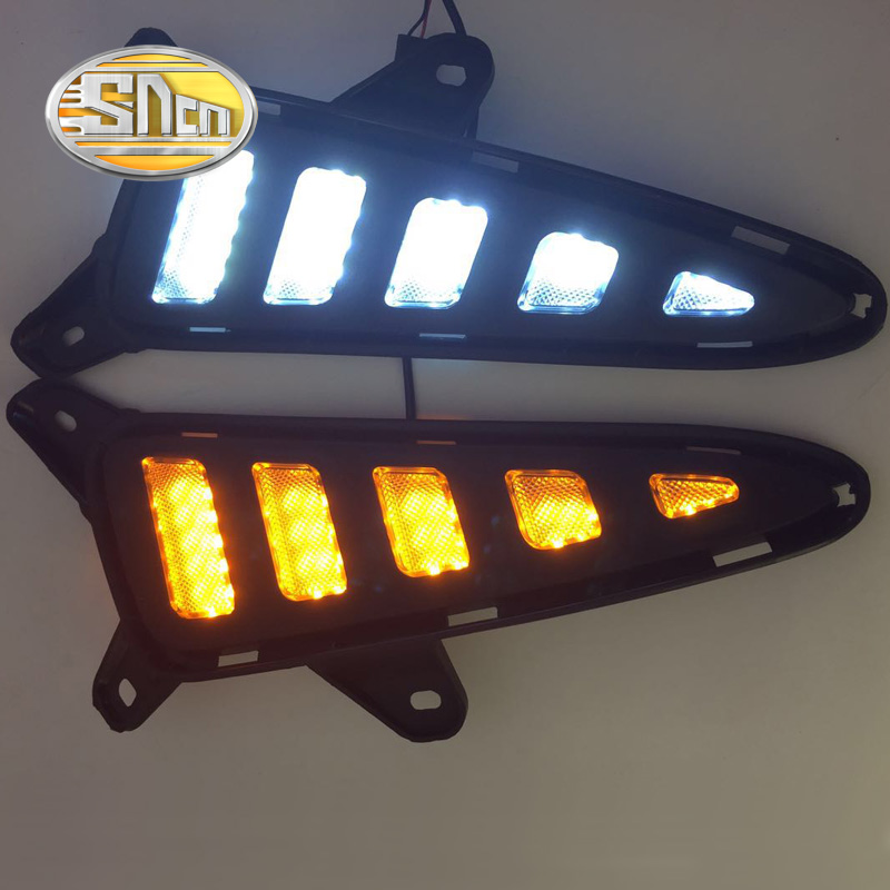 SNCN With Yellow Turning Function Matte ABS Cover 12V Car DRL LED Daytime Running Light Daylight For Toyota C-HR CHR 2016 2017<br>