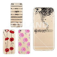 Super thin Music Note Flower Painted Silicon Soft TPU Cell Phone Case Protector Back Cover For iphone 6 6s Phone Case(China)