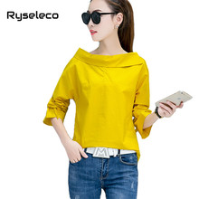 Women Spring Pure Color Slash Neck Bow Long Sleeve Regular Basic Blouses Girls Fashion Slim Basic Elegant Brief Shirts Pullovers(China)