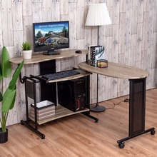 Goplus Expandable Computer Desk L Shaped PC Laptop Table Corner Workstation Home Officem Modern Wood Standing Desk HW53898(China)