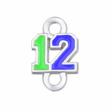 Skyrim 20pcs Seahawks the 12 blue neon green enamel tiny charms for bracelet fans jewelry gift(China)