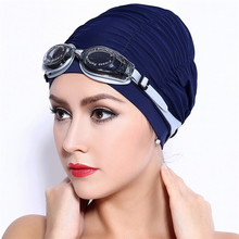 Swimming Caps Long Hair Swim Cap Pleated Cloth Fabric Bathing Hats Lycra Beanie Hat for Adult Men Women(China)