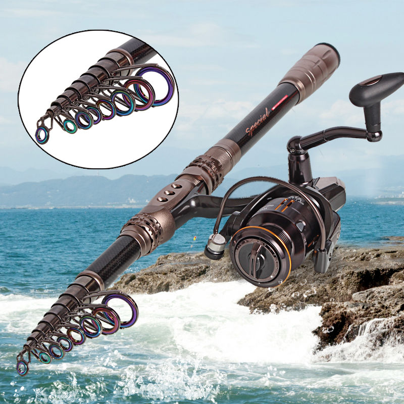 Travel Spinning Reel With Carbon Telescopic Fishing Rod Saltwater Freshwater Fishing<br><br>Aliexpress