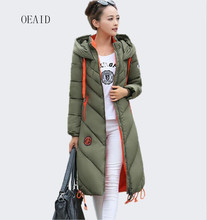 OEAID Fashion Snow Ladies Coats Army Green 2017 Winter Coat Women Parka Long Outerwear Thick parka Women Winter Jacket Black(China)