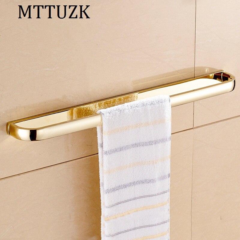 MTTUZK Euro Style Golden Towel Holder Fashion Brass Towel Rack Towel Bar Bathroom Towel Hanger toalha Bar Bathroom Accessories<br>