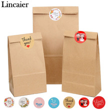 Lincaier 12Pcs Brown Kraft Paper Bag Thank You Stickers Label Cookie Treat Candy Envelope Wedding Gift for Guests Wrapping Bags(China)