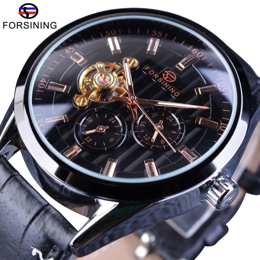 Forsining Fashion Tourbillion Luminous Hands Display Genuine Leather Men Mechanical Watch Top Brand Luxury Automatic Wrist Watch<br>