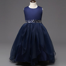 Holiday dress fashion new arrival hot pink white red navy blue crystal  dresses for 8-15 year olds for a wedding2.2