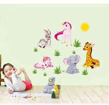 Hot style can remove wall stick small cartoon animals like the giraffe pony children room decoration stickers