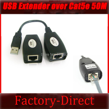 Free shipping 1PCS USB Extender Repeater USB Extension Adapter over Cat5/Cat5e/6 RJ45 Port up to 50M 150ft