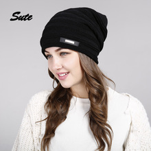 SUTE Winter Beanie Hat Ladies Knit Hats men for Women Caps Knitted Cap gorros With Ear Flaps female cap Outdoor Ski Sports Warm(China)