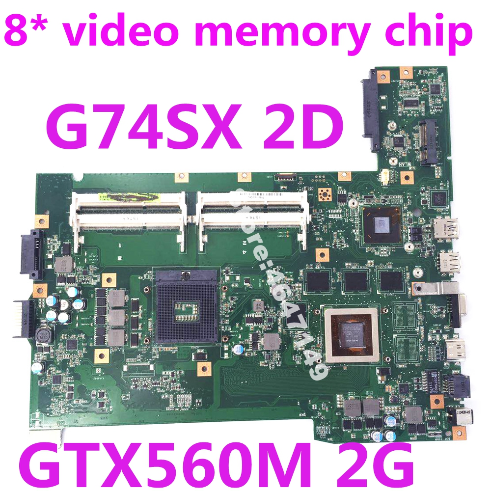 G74SX GTX560M 2GB 4 RAM Slots 2D Screen line interface Mainboard For ASUS G74 G74S G74SX Laptop Motherboard 100% Tested