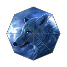 Night Space Wolf Art Custom Portable Folding Travel Design Rain and Sun Beach Umbrellas Hat Unique Parasol Umbrella