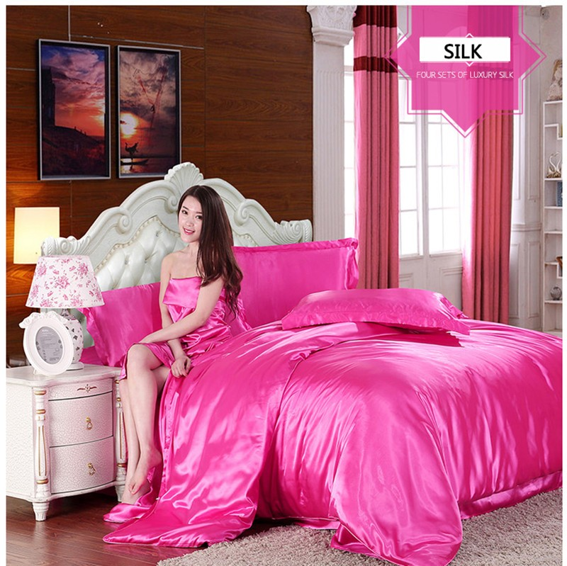 HOT! 100% pure satin silk bedding set,Home Textile King size bed set,bedclothes,duvet cover flat sheet pillowcases Wholesale 12