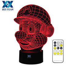 HUI YUAN Mario Bros 3D Lamp Night Light RGB Changeable Mood Light DC 5V USB Decorative Table Lamp Get a free remote control(China)