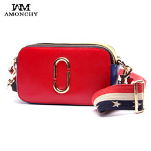 Summer 2017 Celebrity Women Bags Genuine Leather Women's Shoulder Bags Fashion Panelled Lady Messenger Bag Wide Strap Handbags