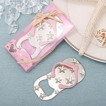 Free shipping Flip flop wine bottle opener with starfish design 40PCS/LOT wedding favor guest gift (pink Color)(China)