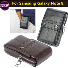 Hot ! Genuine Leather Carry Belt Clip Pouch Waist Purse Case Cover for Samsung Galaxy Note 8  Mobile Phone Bag Cell Phone Bag