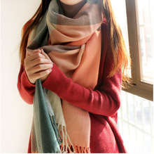 Hot Winter Scarf Women Blanket Plaid Scarf Female Shawls And Scarves Warm Women Tippet Bandana Hijab Pashmina Cashmere Scarfs(China)