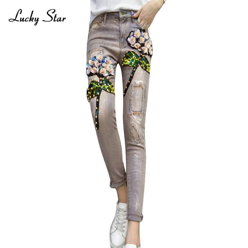 Embroidered Flares Women Denim Jeans Skinny 2017 Female Leisure Sequined Strtech Jeans Denim Trousers  A172Îäåæäà è àêñåññóàðû<br><br>