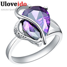 Ring Purple Women's Ring Silver Color Crystal Costume Jewelry Rings for Women Jewellery Rhinestone Anel Masculino Uloveido J093