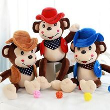 The new cute monkey plush toy doll wearing this dress and hat cowboy monkey monkey doll