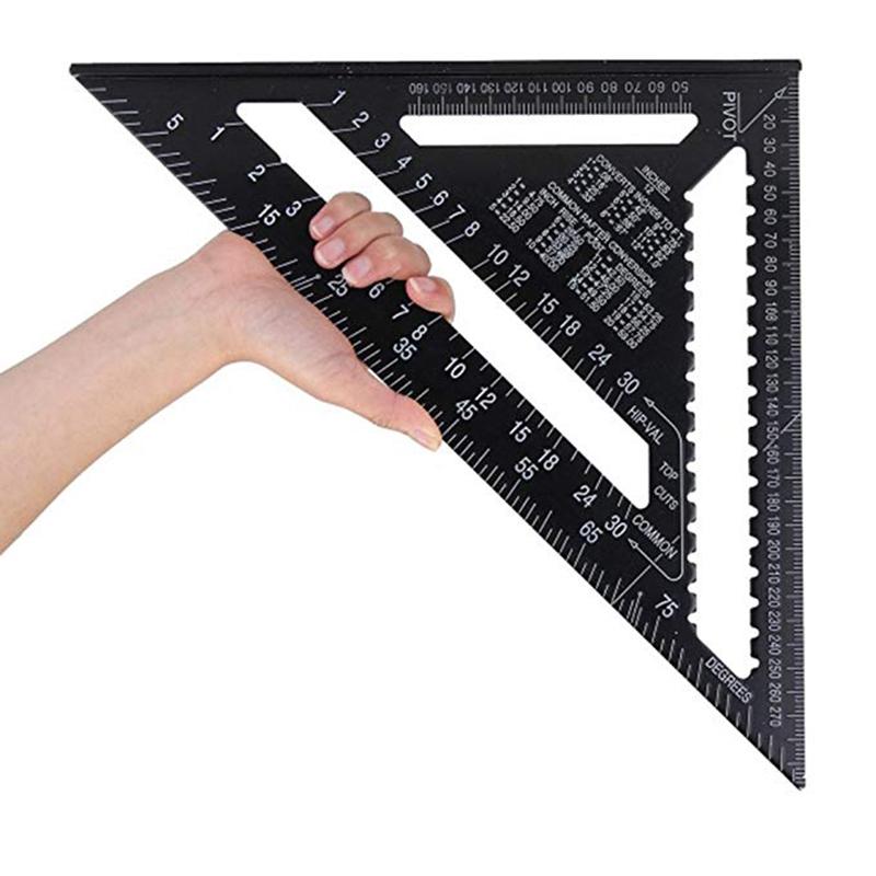 DGdolph Regla Triangular Regla del /ángulo del transportador para enmarcar carpinter/ía Medici/ón m/étrica Negra 12 Pulgadas
