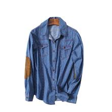 Long sleeved shirt Pot-point cowboy shirt leads blouse the junction shirt Fur Patchwork denim jacket(China)