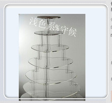 Hot selling free shopping/6 Tier Heart Shaped Acrylic Cake Stand, Plexiglass Cupcake Stand decoration