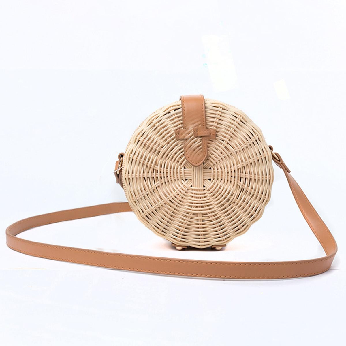 Bohemian Bali Rattan Bags For Women Small Circle Lady Straw Beach Handbags Summer Vintage Straw Bag Handmade Crossbody<br>