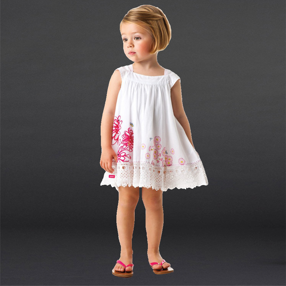 Free Shipping Famous Girl Summer dress 2015 Toddler Kids Embroidery Cotton Casual Dress Baby Fashion Vest Dresses 3-8 Years Old<br><br>Aliexpress