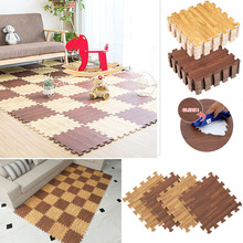 1Pc 11.8x11.8inch EVA Foam Floor Mat Faux Wood Grain Ground Cushion Soft Baby Crawl Pad Waterproof Floor Puzzle Mat Home Decor