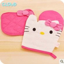 Hot Sale 2pcs/set 100% Pure Cotton Helly Kitty Oven Mitt Kitchen Microwave Gloves And Lovely Insulation Pads Free Shipping(China)