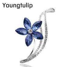 3 colors choose CZ rhinestone flower brooches for women simple design fashion jewelry wedding pins and brooches high quality(China)