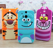 Cute 3D Cartoon Sulley Tiger Cheshire Cat Soft Rubber Cell Phone Case For HTC One M8