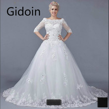 2015 real picture fashion ball gown white lace beaded plus size wedding dresses 3/4 sleeve modest vintage wedding gowns