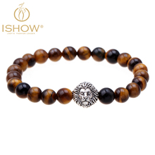 Hot selling lion bracelet pulseiras masculinas natural stone tiger eye bracelets mens bracelet cuir homme jewelry gift 2016